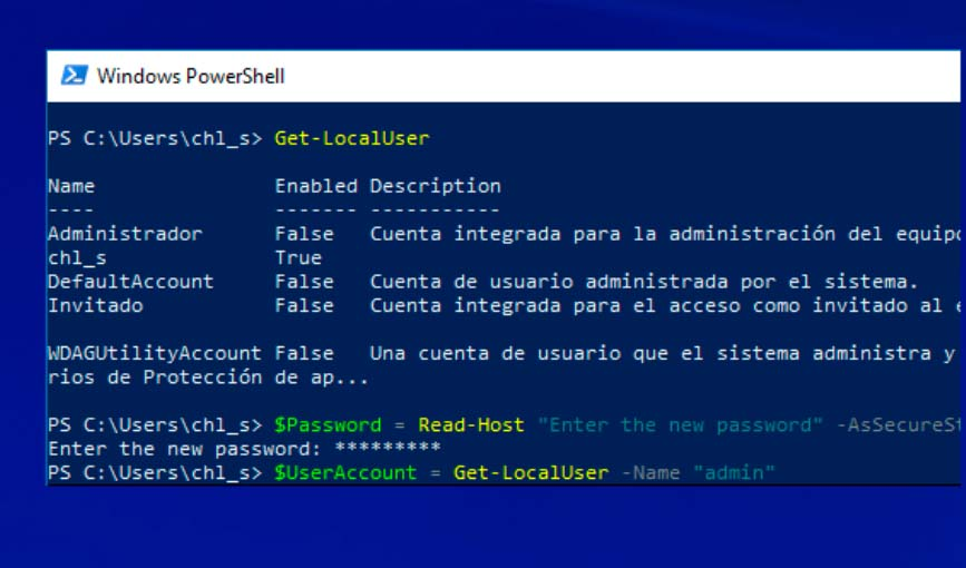 Cómo cambiar la contraseña de una cuenta usando PowerShell en Windows 10